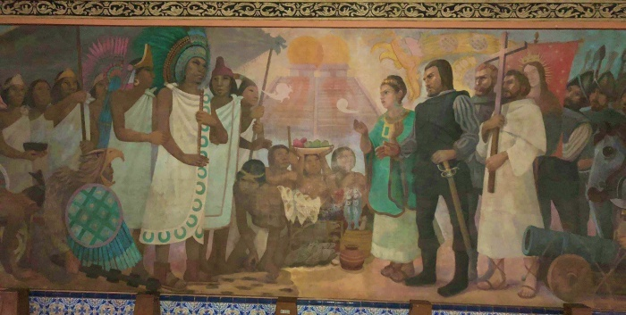 A mural located inside the Hospital de Jesus Nazareno depicting when Cort�©s met Montezuma.