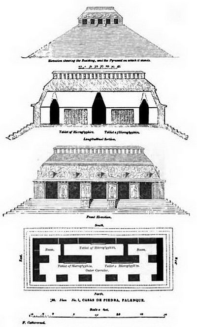 Architectural Floor Plan of Temple of Inscriptions at Palenque