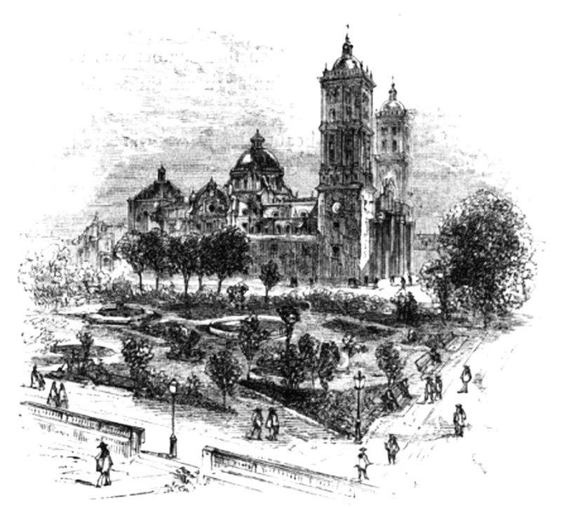 Drawing of the Cathedral of Puebla