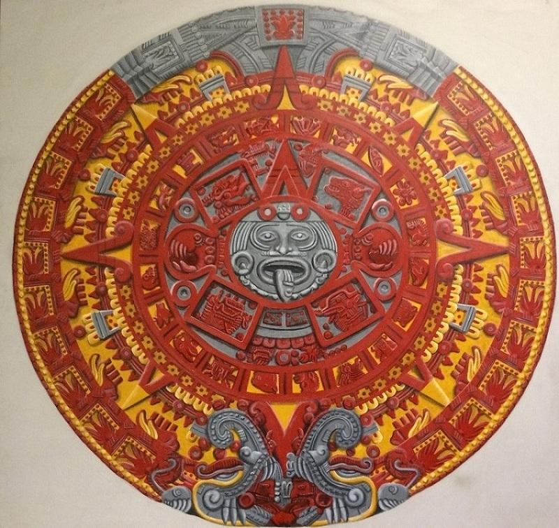 Aztec Calendar Stone Drawing